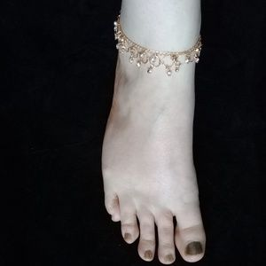 Gold and crystal ankle bracelet